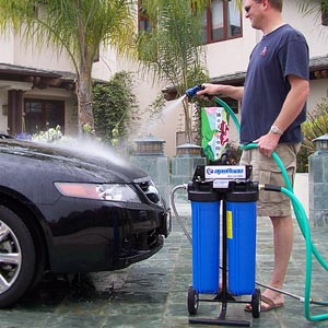 Car wash water softener
