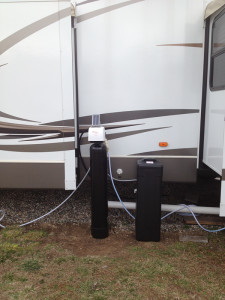 RV portable water softener